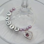 Purple Sparkle Swirl Heart Personalised Wine Glass Charm